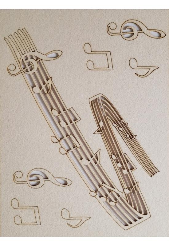 Kotta, hangjegyek, violinkulcs 145x195 mm táblán
