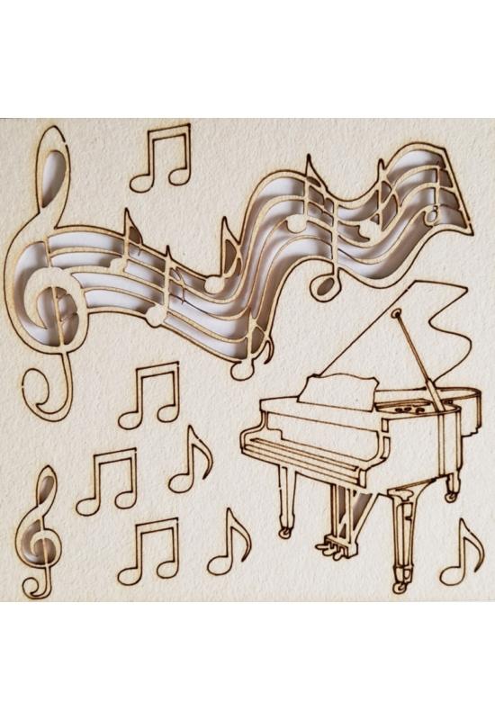 Zongora, kotta, hangjegyek 110x115x1 mm táblán