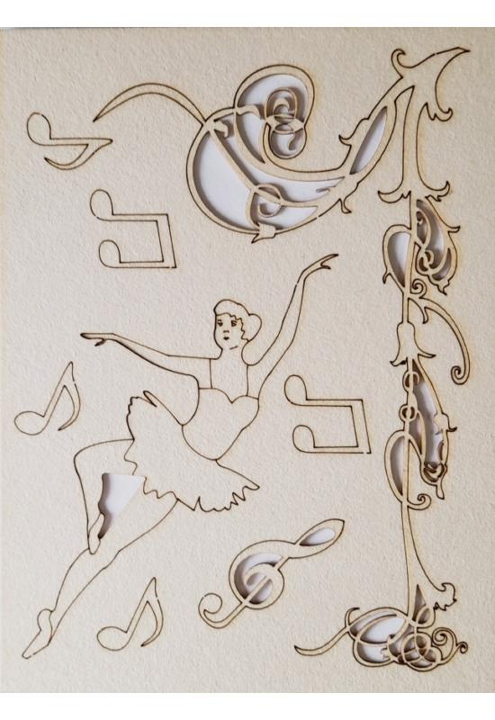 Balerina, inda, hangjegyek 145x195x1 mm táblán