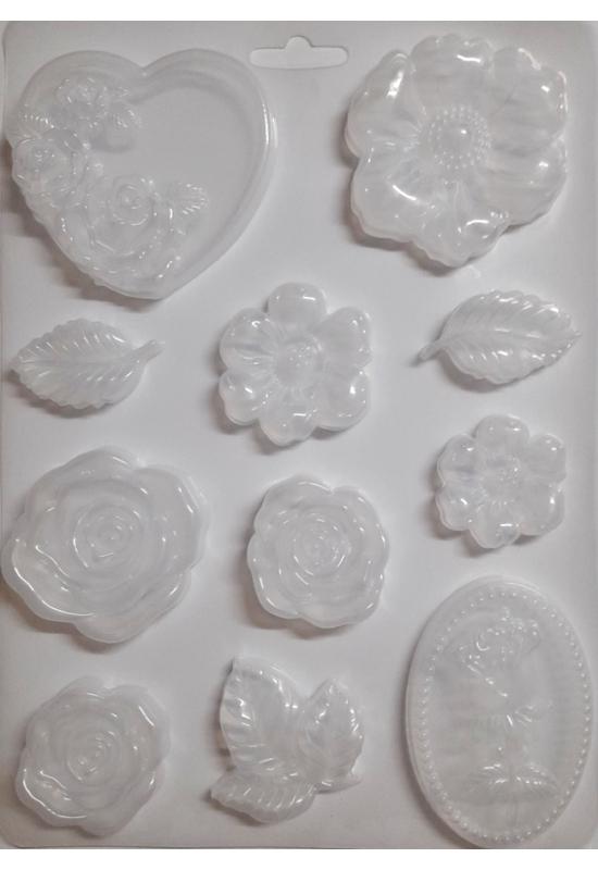 Lágy PVC Öntőforma-A4 méret-szív, virágok