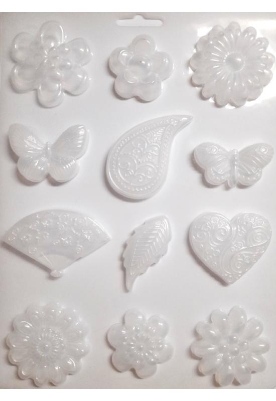 Lágy PVC Öntőforma-A4 méret-virágok, formák