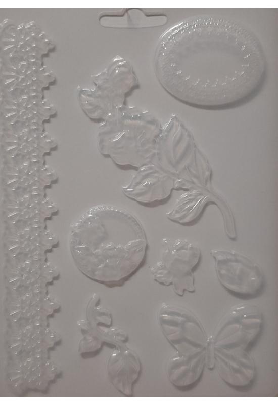 Lágy PVC Öntőforma-A5 méret-Csipke és virág