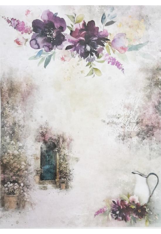 Rizspapír-virág, ajtó