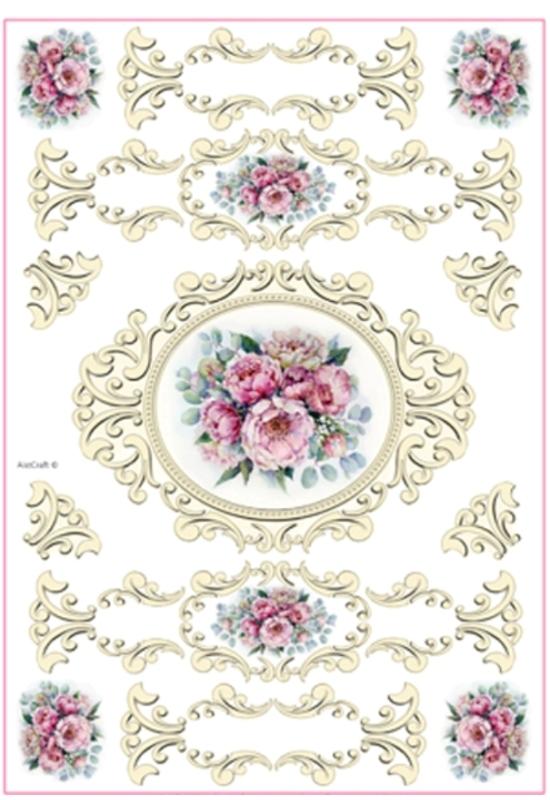 Rizspapír-virág keretben