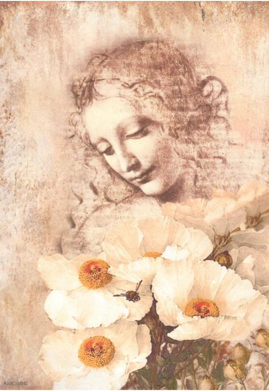 Rizspapír-nő virággal