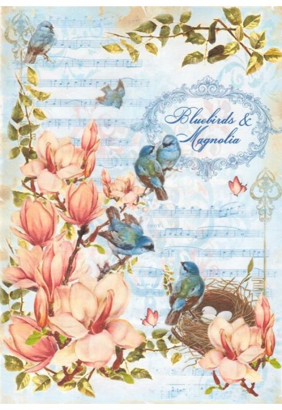 Rizspapír-madarak tulipánfán
