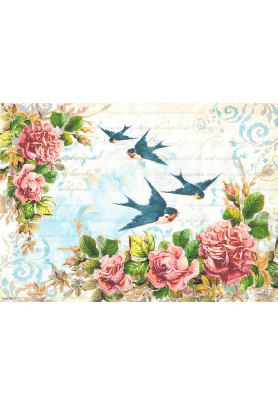 Rizspapír-Fecskék rózsákkal