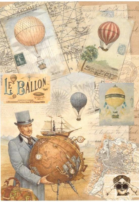 Rizspapír-Férfi hőlégballonnal