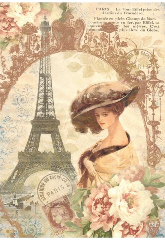 Rizspapír-nő virággal Párizsban