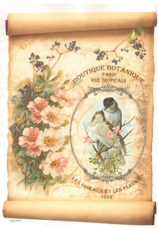 Rizspapír-madarak virággal