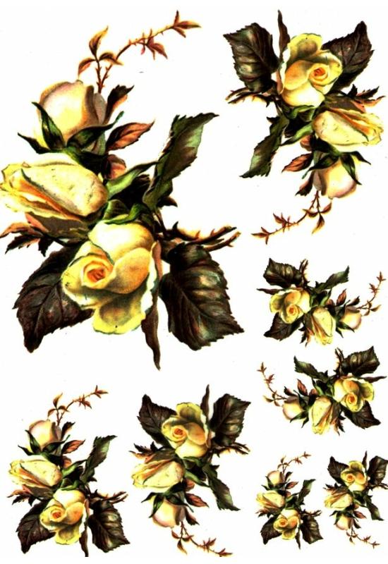 Rizspapír-sárga rózsák