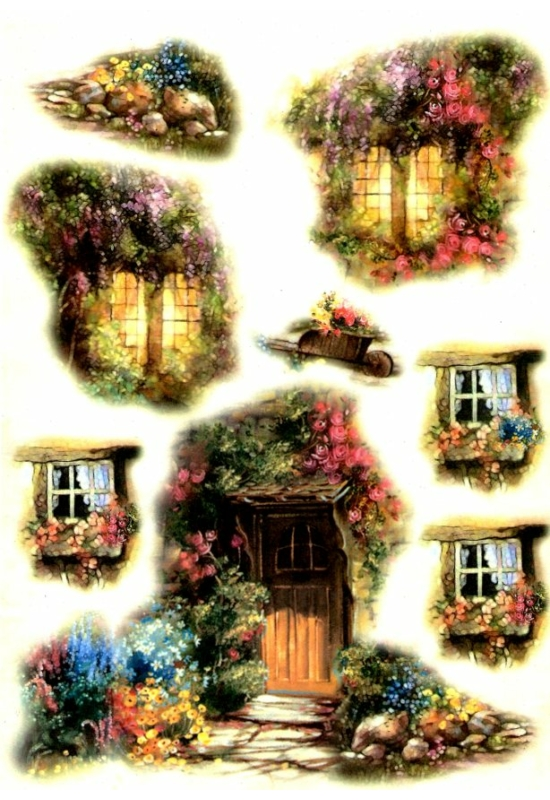 Rizspapír-ablakok, ajtó