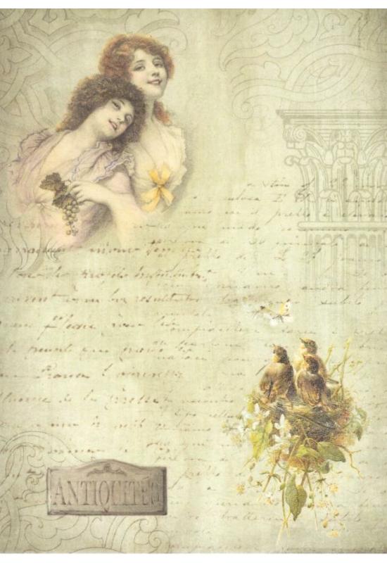 Rizspapír- nők, madarak