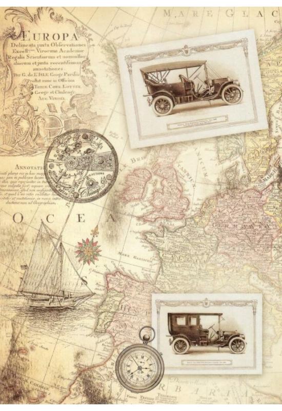 Rizspapír-térkép, autók