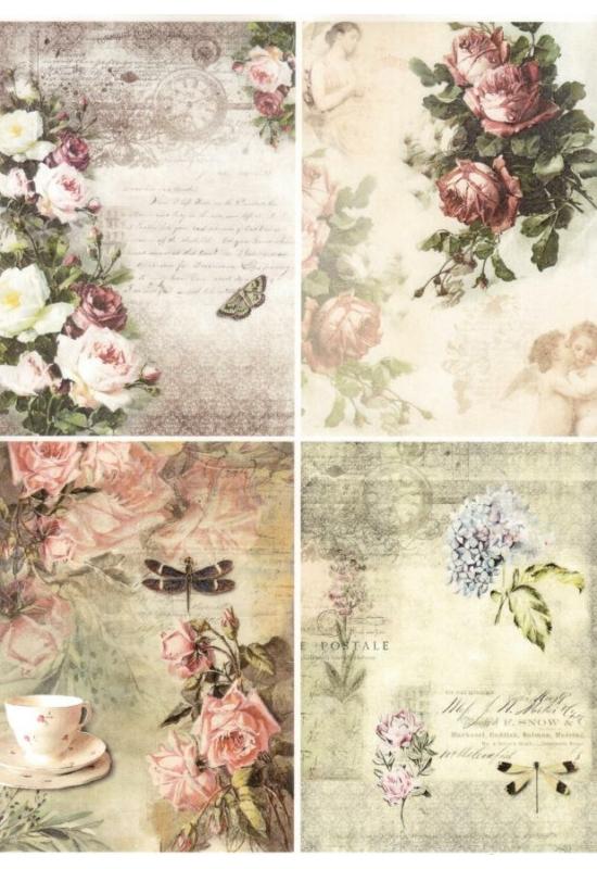 Rizspapír-virágok 4 képen
