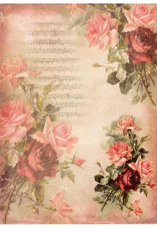 Rizspapír-rózsák hangjegyekkel