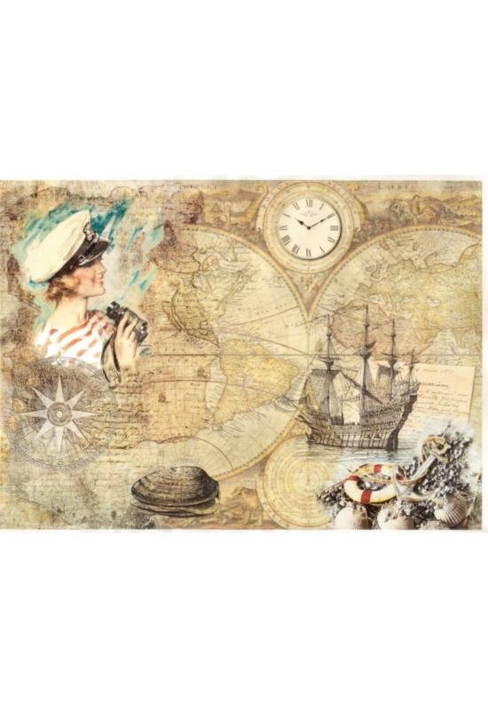 Rizspapír-térkép, hajó