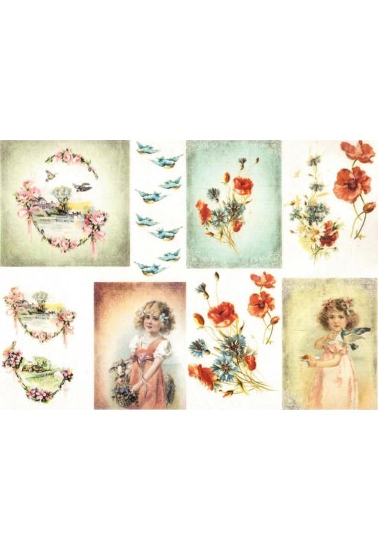Rizspapír-Kislány, virágok, madarak