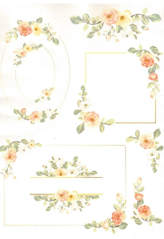 Rizspapír-virág keretek