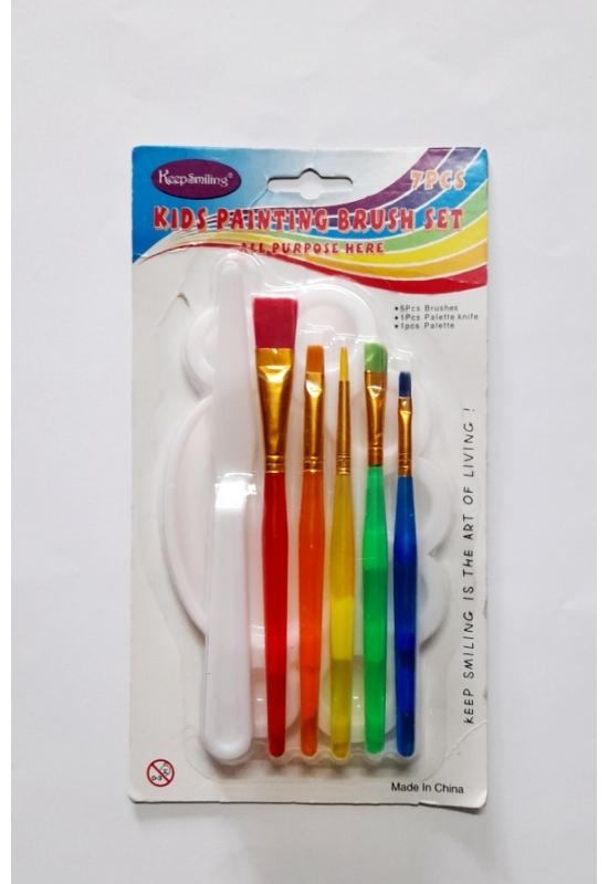 Ecset szett festőpalettával festőkéssel - 5 db ecset, paletta, spatula